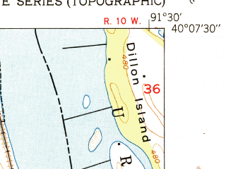 Reduced fragment of topographic map en--usgs--024k--024091--(1951)--N040-07-30_W091-37-30--N040-00-00_W091-30-00; towns and cities La Grange