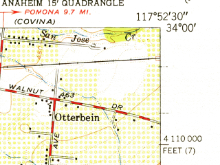 Reduced fragment of topographic map en--usgs--024k--024095--(1952)--N034-00-00_W118-00-00--N033-52-30_W117-52-30; towns and cities Fullerton, Hacienda Heights, La Habra, Rowland Heights, East La Mirada