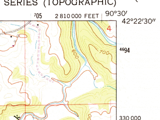 Reduced fragment of topographic map en--usgs--024k--024126--(1962)--N042-22-30_W090-37-30--N042-15-00_W090-30-00; towns and cities La Motte, St. Donatus
