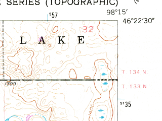 Reduced fragment of topographic map en--usgs--024k--024127--(1955)--N046-22-30_W098-22-30--N046-15-00_W098-15-00 in area of Lake Lamoure; towns and cities La Moure