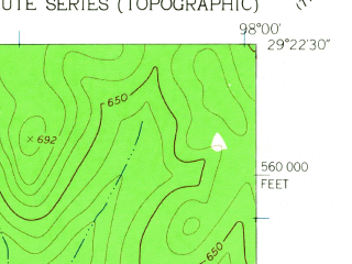 Reduced fragment of topographic map en--usgs--024k--024185--(1962)--N029-22-30_W098-07-30--N029-15-00_W098-00-00; towns and cities La Vernia