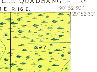 Reduced fragment of topographic map en--usgs--024k--024192--(1938)--N029-52-30_W091-00-00--N029-45-00_W090-52-30; towns and cities Labadieville, Supreme