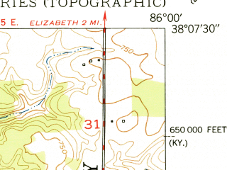 Reduced fragment of topographic map en--usgs--024k--024217--(1950)--N038-07-30_W086-07-30--N038-00-00_W086-00-00; towns and cities Laconia