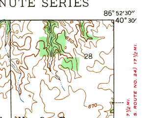 Reduced fragment of topographic map en--usgs--024k--024255--(1942)--N040-30-00_W087-00-00--N040-22-30_W086-52-30; towns and cities West Lafayette