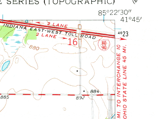 Reduced fragment of topographic map en--usgs--024k--024263--(1960)--N041-45-00_W085-30-00--N041-37-30_W085-22-30; towns and cities Lagrange