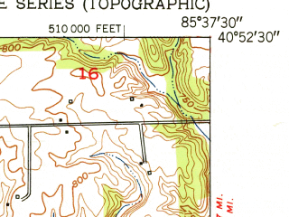 Reduced fragment of topographic map en--usgs--024k--024265--(1951)--N040-52-30_W085-45-00--N040-45-00_W085-37-30; towns and cities Lagro