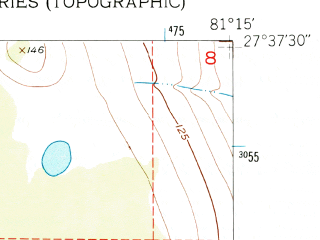 Reduced fragment of topographic map en--usgs--024k--024327--(1952)--N027-37-30_W081-22-30--N027-30-00_W081-15-00