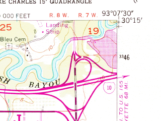 Reduced fragment of topographic map en--usgs--024k--024373--(1955)--N030-15-00_W093-15-00--N030-07-30_W093-07-30; towns and cities Lake Charles