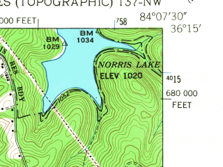 Reduced fragment of topographic map en--usgs--024k--024381--(1952)--N036-15-00_W084-15-00--N036-07-30_W084-07-30; towns and cities Lake City