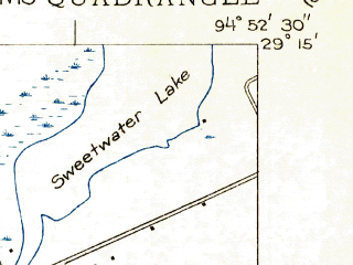 Reduced fragment of topographic map en--usgs--024k--024396--(1931)--N029-15-00_W095-00-00--N029-07-30_W094-52-30; towns and cities Galveston, Jamaica Beach