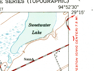 Reduced fragment of topographic map en--usgs--024k--024396--(1943)--N029-15-00_W095-00-00--N029-07-30_W094-52-30; towns and cities Galveston, Jamaica Beach