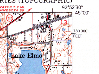 Reduced fragment of topographic map en--usgs--024k--024421--(1950)--N045-00-00_W093-00-00--N044-52-30_W092-52-30; towns and cities Woodbury, Oakdale, Lake Elmo, Landfall, Newport