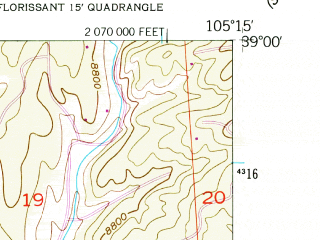 Reduced fragment of topographic map en--usgs--024k--024442--(1956)--N039-00-00_W105-22-30--N038-52-30_W105-15-00