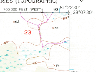Reduced fragment of topographic map en--usgs--024k--024455--(1953)--N028-07-30_W081-30-00--N028-00-00_W081-22-30