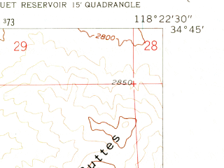Reduced fragment of topographic map en--usgs--024k--024469--(1957)--N034-45-00_W118-30-00--N034-37-30_W118-22-30 in area of Elizabeth Lake