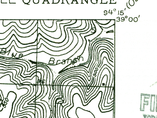 Reduced fragment of topographic map en--usgs--024k--024486--(1934)--N039-00-00_W094-22-30--N038-52-30_W094-15-00 in area of Lake Jacomo; towns and cities Lake Lotawana