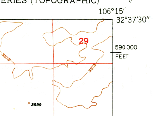 Reduced fragment of topographic map en--usgs--024k--024516--(1950)--N032-37-30_W106-22-30--N032-30-00_W106-15-00