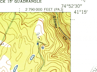 Reduced fragment of topographic map en--usgs--024k--024536--(1943)--N041-15-00_W075-00-00--N041-07-30_W074-52-30