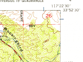 Reduced fragment of topographic map en--usgs--024k--024540--(1953)--N033-52-30_W117-30-00--N033-45-00_W117-22-30 in area of Lake Mathews