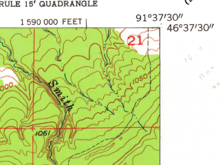 Reduced fragment of topographic map en--usgs--024k--024582--(1954)--N046-37-30_W091-45-00--N046-30-00_W091-37-30; towns and cities Lake Nebagamon