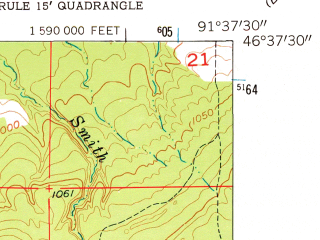 Reduced fragment of topographic map en--usgs--024k--024582--(1961)--N046-37-30_W091-45-00--N046-30-00_W091-37-30; towns and cities Lake Nebagamon