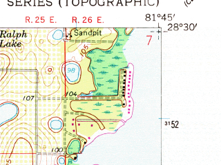 Reduced fragment of topographic map en--usgs--024k--024583--(1959)--N028-30-00_W081-52-30--N028-22-30_W081-45-00