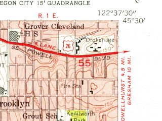 Reduced fragment of topographic map en--usgs--024k--024600--(1954)--N045-30-00_W122-45-00--N045-22-30_W122-37-30; towns and cities Lake Oswego, Oak Grove, Rivergrove