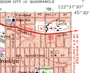Reduced fragment of topographic map en--usgs--024k--024600--(1961)--N045-30-00_W122-45-00--N045-22-30_W122-37-30; towns and cities Lake Oswego, Oak Grove, Rivergrove