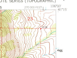 Reduced fragment of topographic map en--usgs--024k--024601--(1961)--N041-15-00_W106-07-30--N041-07-30_W106-00-00