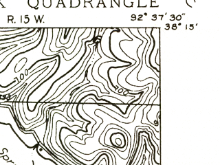 Reduced fragment of topographic map en--usgs--024k--024602--(1934)--N038-15-00_W092-45-00--N038-07-30_W092-37-30; towns and cities Lake Ozark, Lakeland, Lakeview Heights