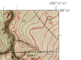 Reduced fragment of topographic map en--usgs--024k--024642--(1939)--N038-45-00_W101-00-00--N038-37-30_W100-52-30