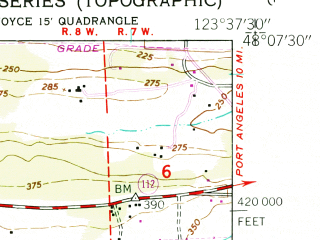 Reduced fragment of topographic map en--usgs--024k--024664--(1950)--N048-07-30_W123-45-00--N048-00-00_W123-37-30
