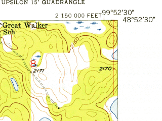 Reduced fragment of topographic map en--usgs--024k--024687--(1955)--N048-52-30_W100-00-00--N048-45-00_W099-52-30
