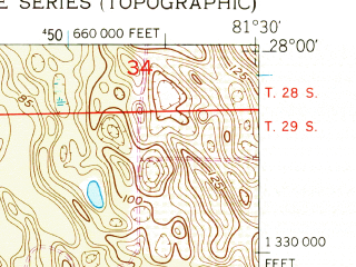 Reduced fragment of topographic map en--usgs--024k--024702--(1952)--N028-00-00_W081-37-30--N027-52-30_W081-30-00; towns and cities Lake Wales, Waverly