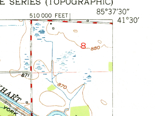 Reduced fragment of topographic map en--usgs--024k--024703--(1951)--N041-30-00_W085-45-00--N041-22-30_W085-37-30; towns and cities Syracuse