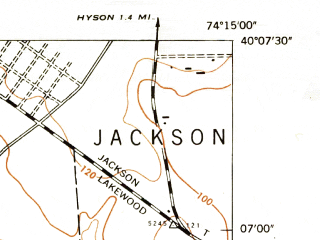 Reduced fragment of topographic map en--usgs--024k--024730--(1947)--N040-07-30_W074-22-30--N040-00-00_W074-15-00; towns and cities Leisure Village West-pine Lake Park, Cedar Glen West, Lakehurst, Leisure Knoll