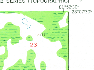 Reduced fragment of topographic map en--usgs--024k--024731--(1944)--N028-07-30_W082-00-00--N028-00-00_W081-52-30 in area of Lake Parker; towns and cities Lakeland, Combee Settlement, Crystal Lake, Gibsonia