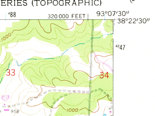 Reduced fragment of topographic map en--usgs--024k--024754--(1959)--N038-22-30_W093-15-00--N038-15-00_W093-07-30