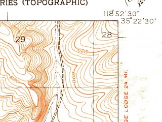 Reduced fragment of topographic map en--usgs--024k--024819--(1950)--N035-22-30_W119-00-00--N035-15-00_W118-52-30; towns and cities Lamont