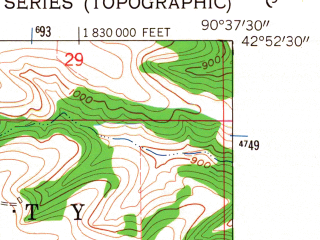 Reduced fragment of topographic map en--usgs--024k--024846--(1962)--N042-52-30_W090-45-00--N042-45-00_W090-37-30; towns and cities Lancaster