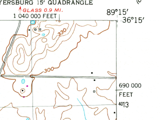 Reduced fragment of topographic map en--usgs--024k--024884--(1952)--N036-15-00_W089-22-30--N036-07-30_W089-15-00