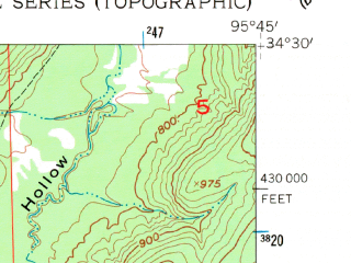 Reduced fragment of topographic map en--usgs--024k--024892--(1957)--N034-30-00_W095-52-30--N034-22-30_W095-45-00
