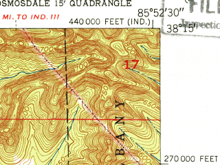 Reduced fragment of topographic map en--usgs--024k--024901--(1951)--N038-15-00_W086-00-00--N038-07-30_W085-52-30; towns and cities Elizabeth, Lanesville