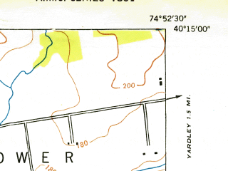 Reduced fragment of topographic map en--usgs--024k--024919--(1947)--N040-15-00_W075-00-00--N040-07-30_W074-52-30; towns and cities Newtown, Penndel, Village Shires