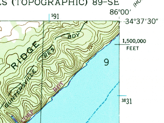 Reduced fragment of topographic map en--usgs--024k--024924--(1947)--N034-37-30_W086-07-30--N034-30-00_W086-00-00; towns and cities Langston
