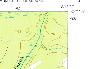 Reduced fragment of topographic map en--usgs--024k--024932--(1958)--N032-15-00_W081-37-30--N032-07-30_W081-30-00; towns and cities Pembroke
