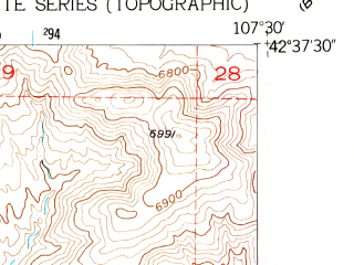 Reduced fragment of topographic map en--usgs--024k--024935--(1951)--N042-37-30_W107-37-30--N042-30-00_W107-30-00
