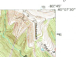 Reduced fragment of topographic map en--usgs--024k--024942--(1960)--N040-07-30_W080-52-30--N040-00-00_W080-45-00; towns and cities Brookside, Neffs