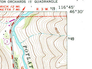 Reduced fragment of topographic map en--usgs--024k--024963--(1958)--N046-30-00_W116-52-30--N046-22-30_W116-45-00; towns and cities Lapwai