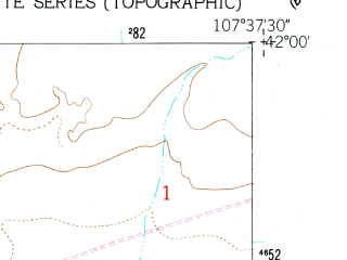 Reduced fragment of topographic map en--usgs--024k--024995--(1960)--N042-00-00_W107-45-00--N041-52-30_W107-37-30